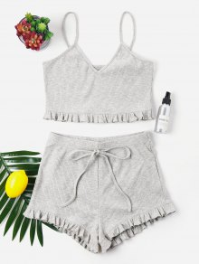 Knit CamisKnit Frill Trims Cami Shorts Set